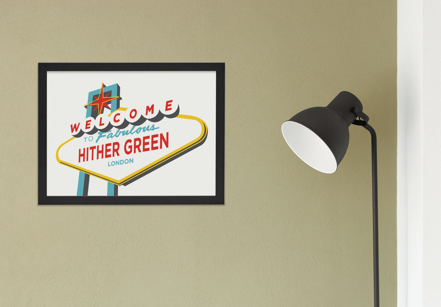 Place in Print Welcome to Fabulous Hither Green Vegas Sign Art Print Lifestyle