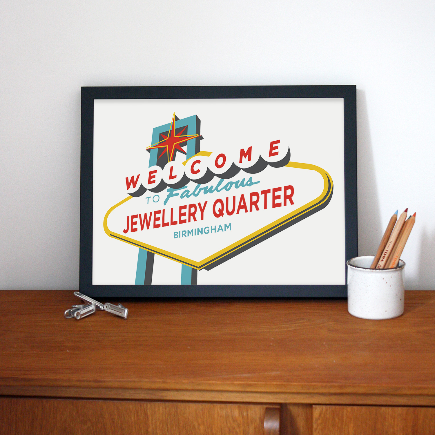Place in Print Welcome to Fabulous Jewellery Quarter, Birmingham Vegas Sign Art Print Lifestyle
