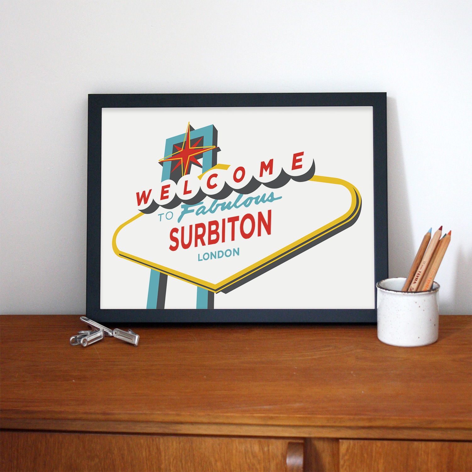 Place in Print Welcome to Fabulous Surbiton, London Vegas Sign Art Print Lifestyle