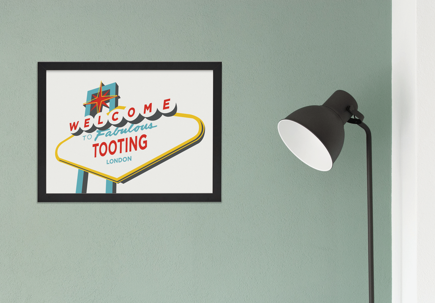 Place in Print Welcome to Fabulous Tooting Vegas Sign Art Print Lifestyle