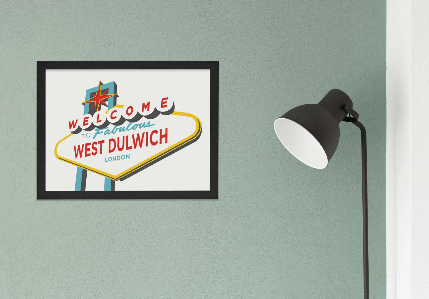 Place in Print Welcome to Fabulous West Dulwich Vegas Sign Art Print Lifestyle