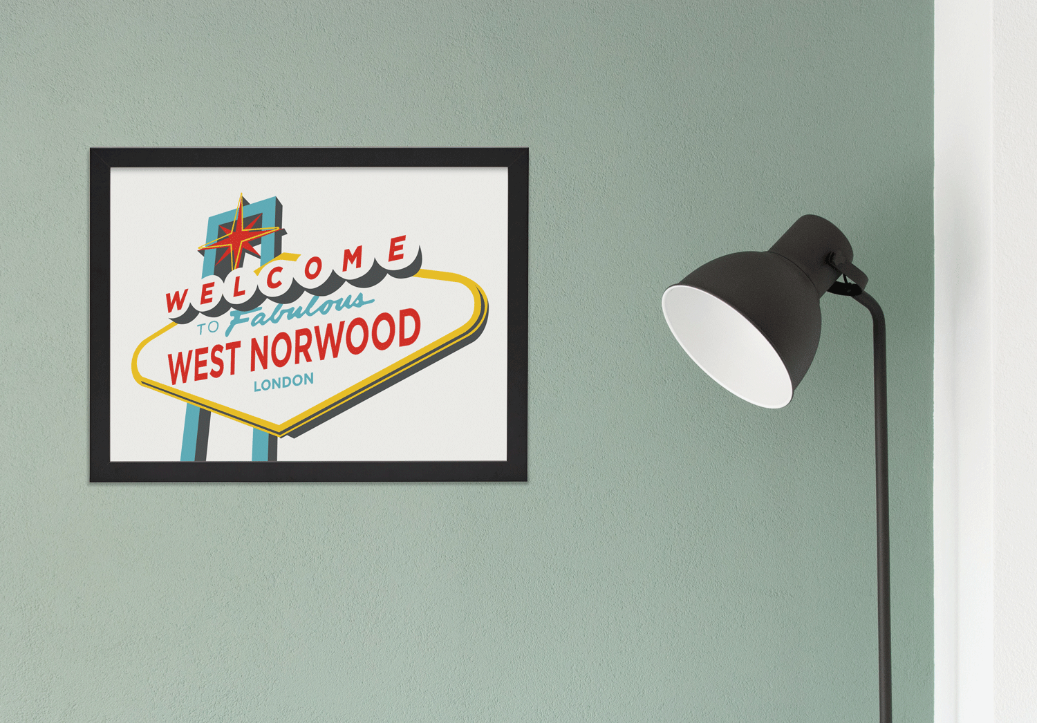 Place in Print Welcome to Fabulous West Norwood Vegas Sign Art Print Lifestyle