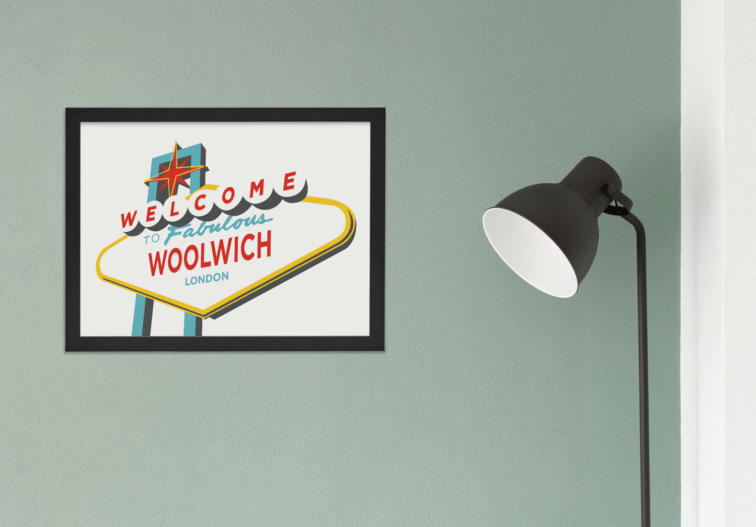 Place in Print Welcome to Fabulous Woolwich Vegas Sign Art Print Lifestyle