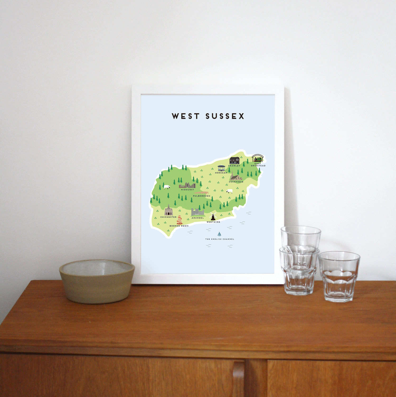 Place in Print Pepper Pot Studios West Sussex Illustrated Map Art Print Lifestyle