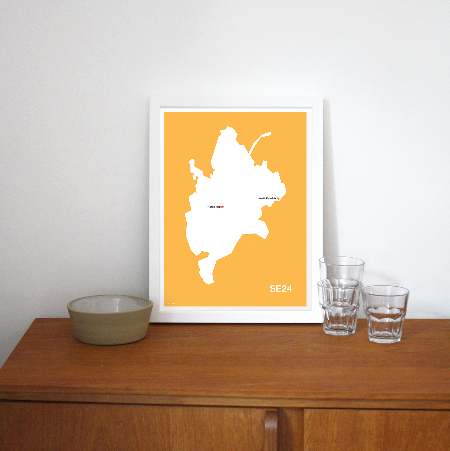 Place in Print MDLThomson SE24 Postcode Map Art Print Lifestyle