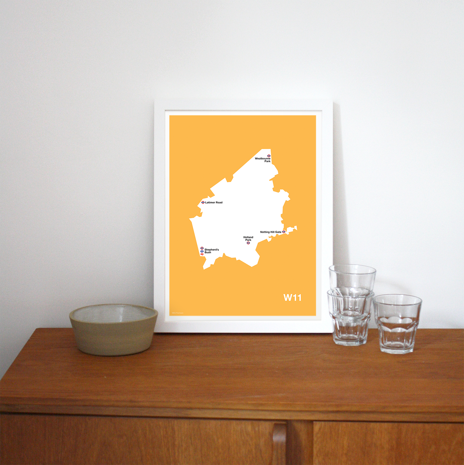 Place in Print MDLThomson W11 Postcode Map Art Print Lifestyle