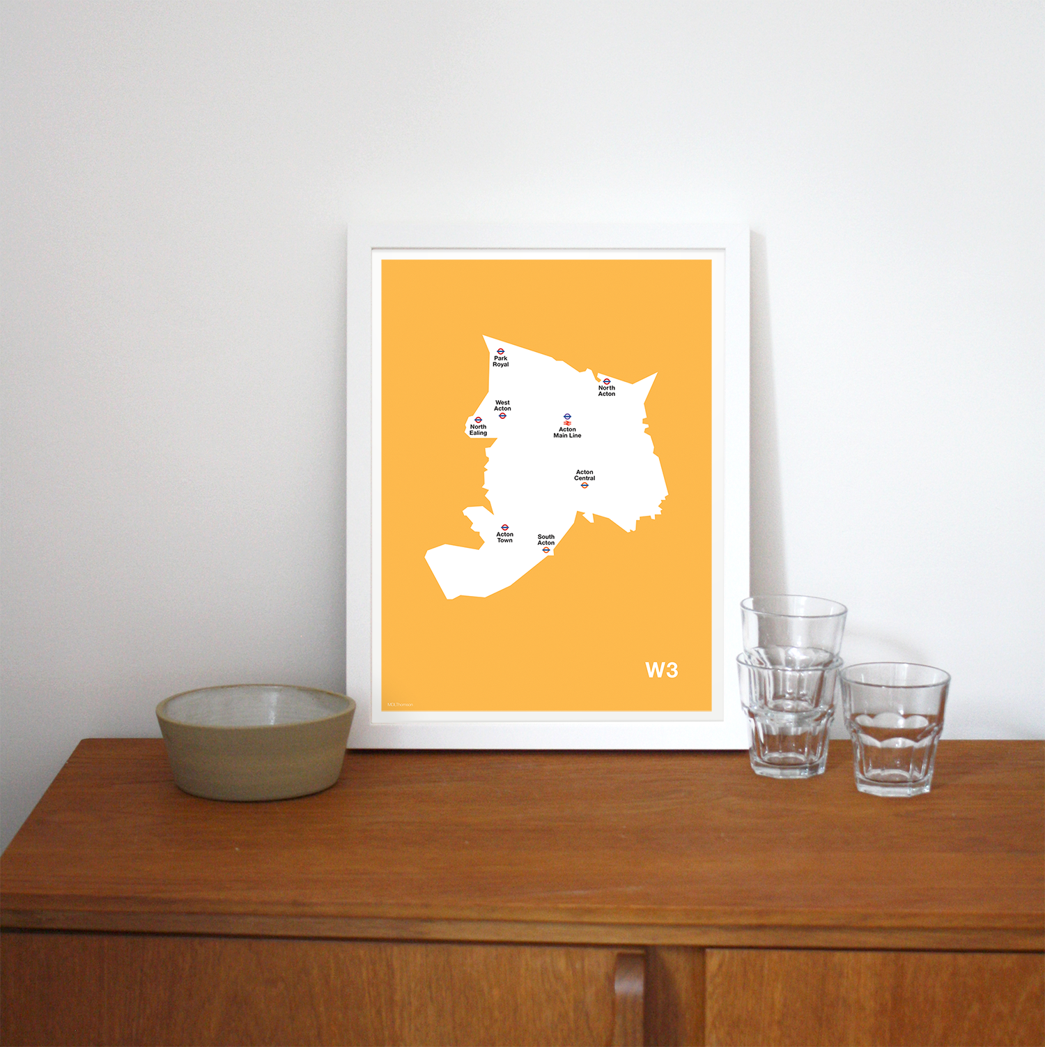 Place in Print MDLThomson W3 Postcode Map Art Print Lifestyle