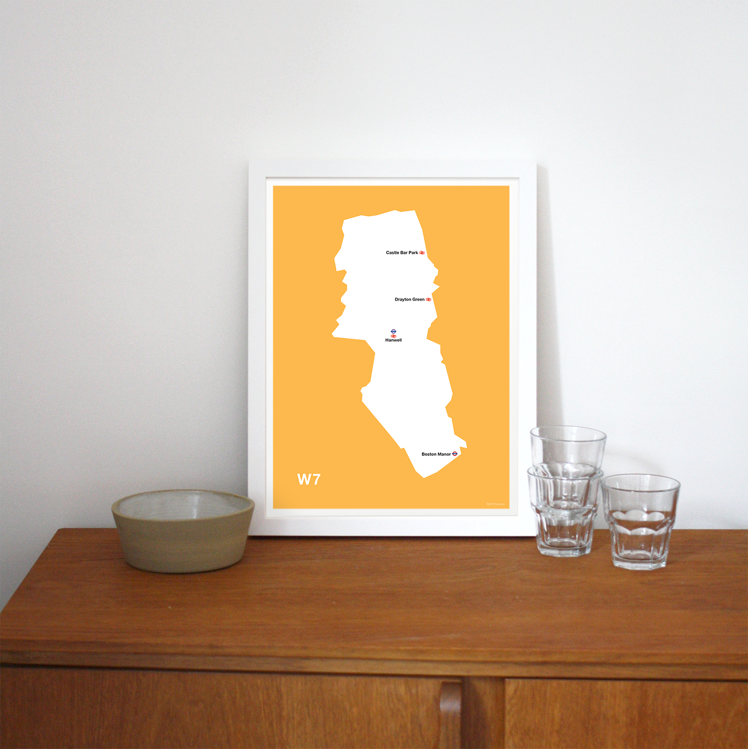 Place in Print MDLThomson W7 Postcode Map Art Print Lifestyle