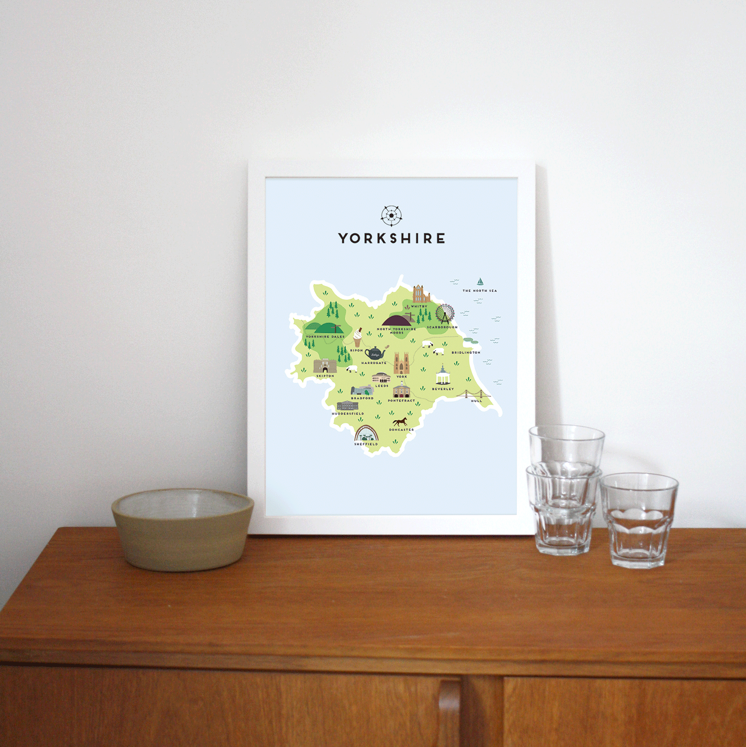 Place in Print Pepper Pot Studios Yorkshire Illustrated Map Art Print Lifestyle