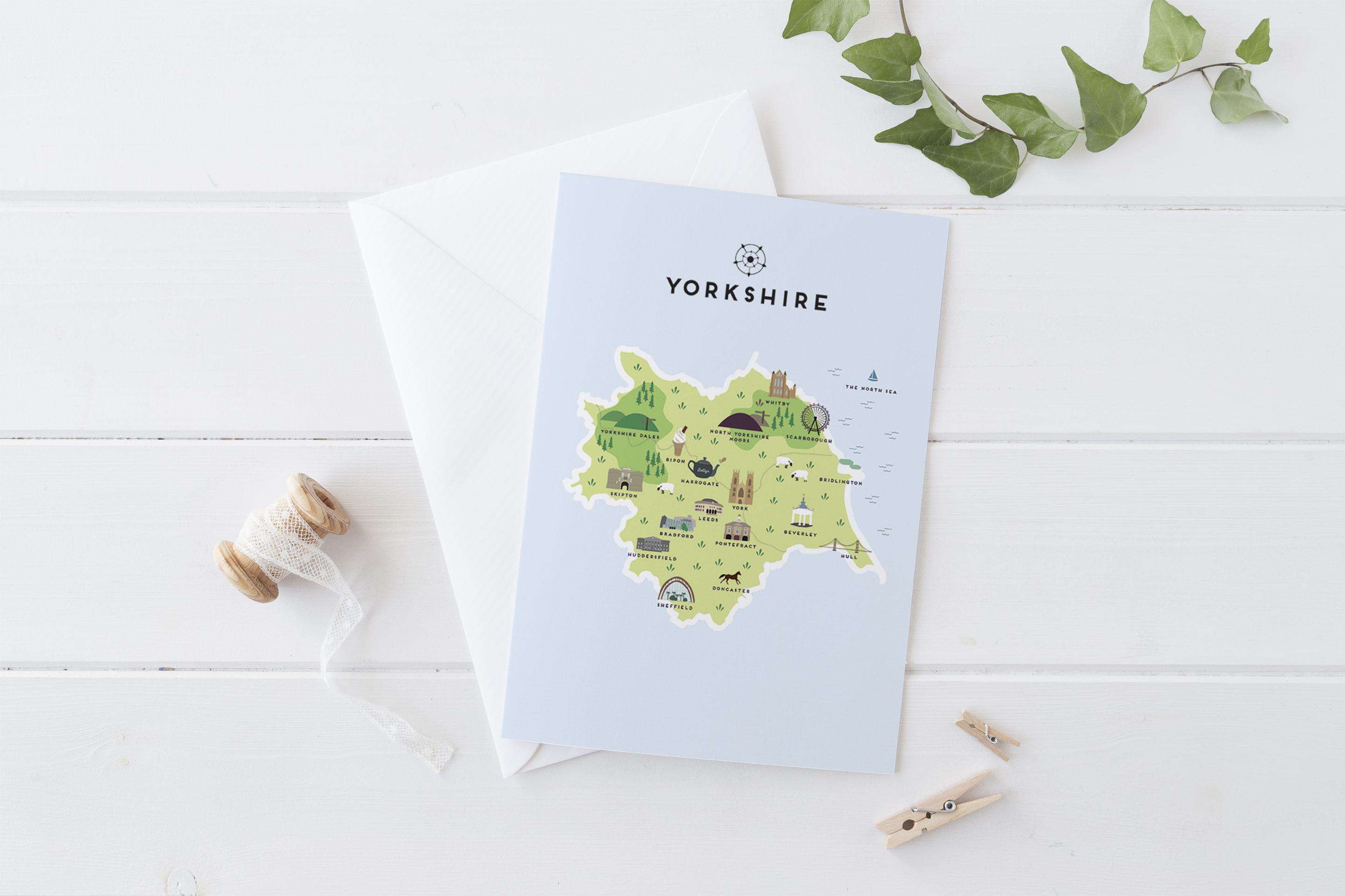 Place in Print Pepper Pot Studios Yorkshire Illustrated Map Art Print Greetings Card