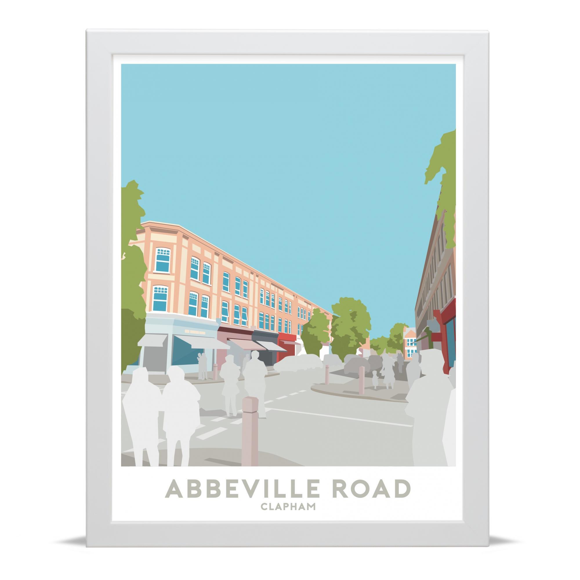 Place in Print Abbeville Road Clapham Travel Poster Art Print White Frame