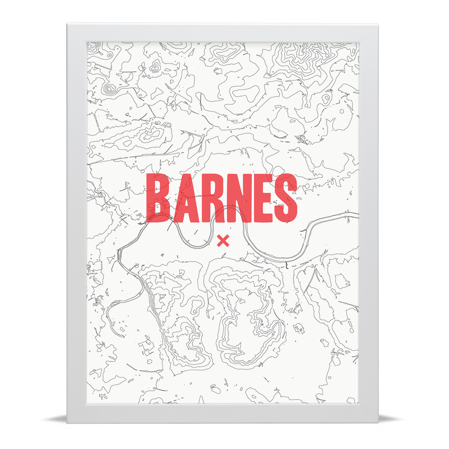 Place in Print Barnes Contour Map Art Print