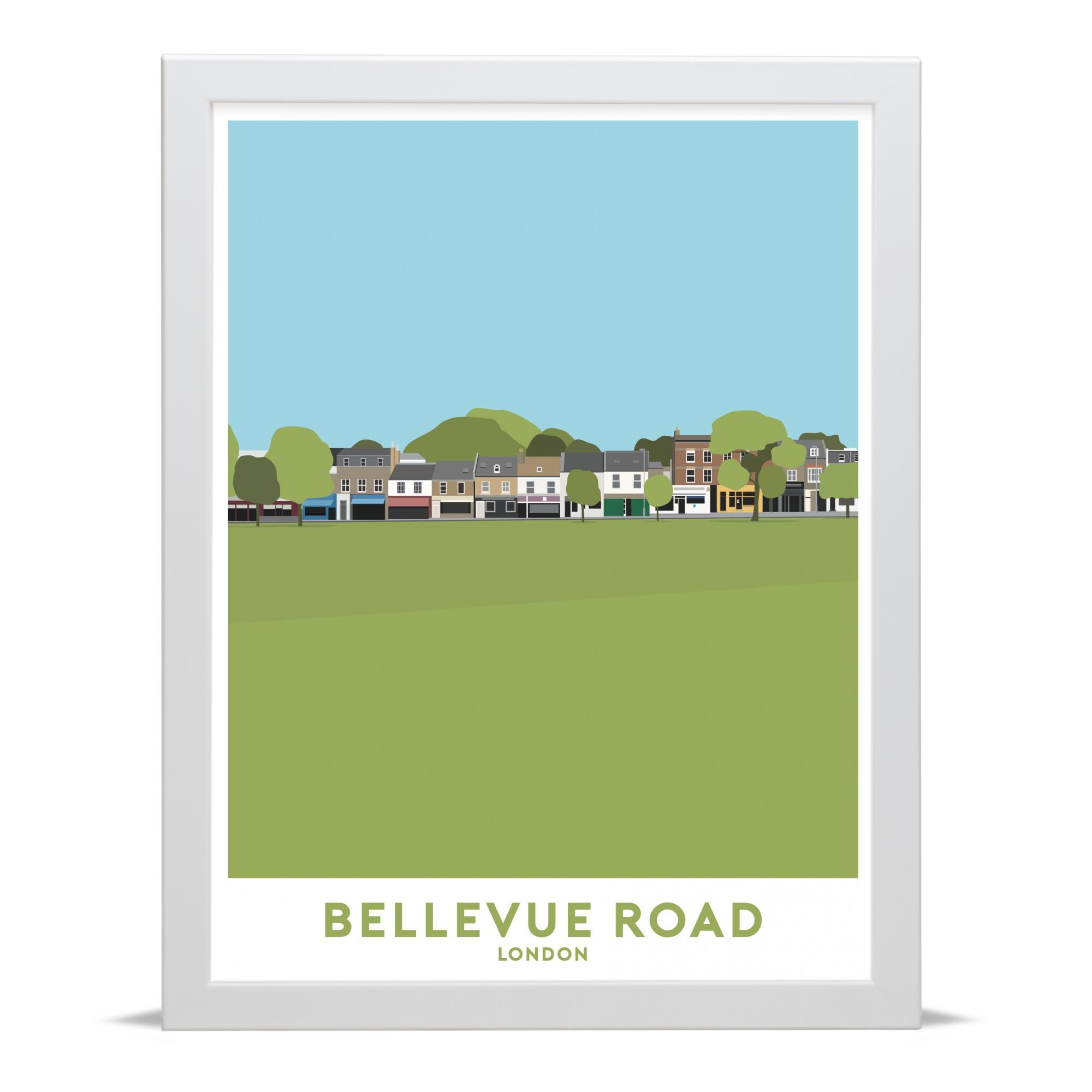 Place in Print Bellevue Road Wandsworth Common Travel Poster Art Print White Frame