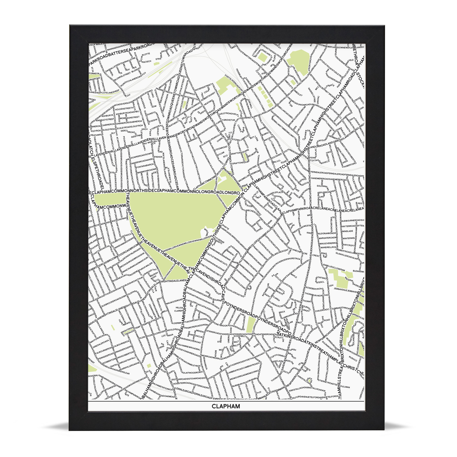 Place in Print Clapham Type Map Art Poster Print