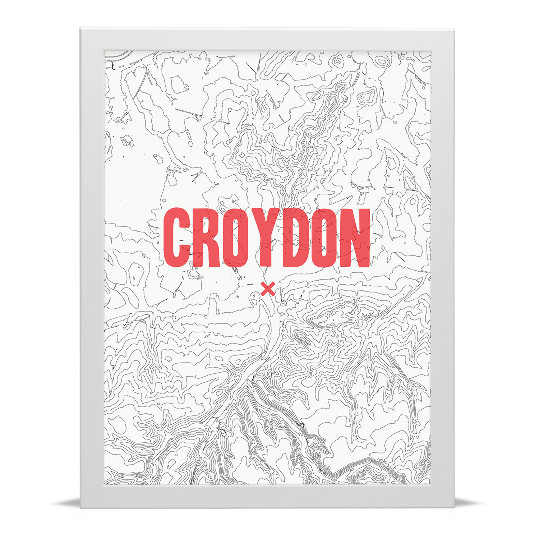 Place in Print Croydon Contour Map Art Print