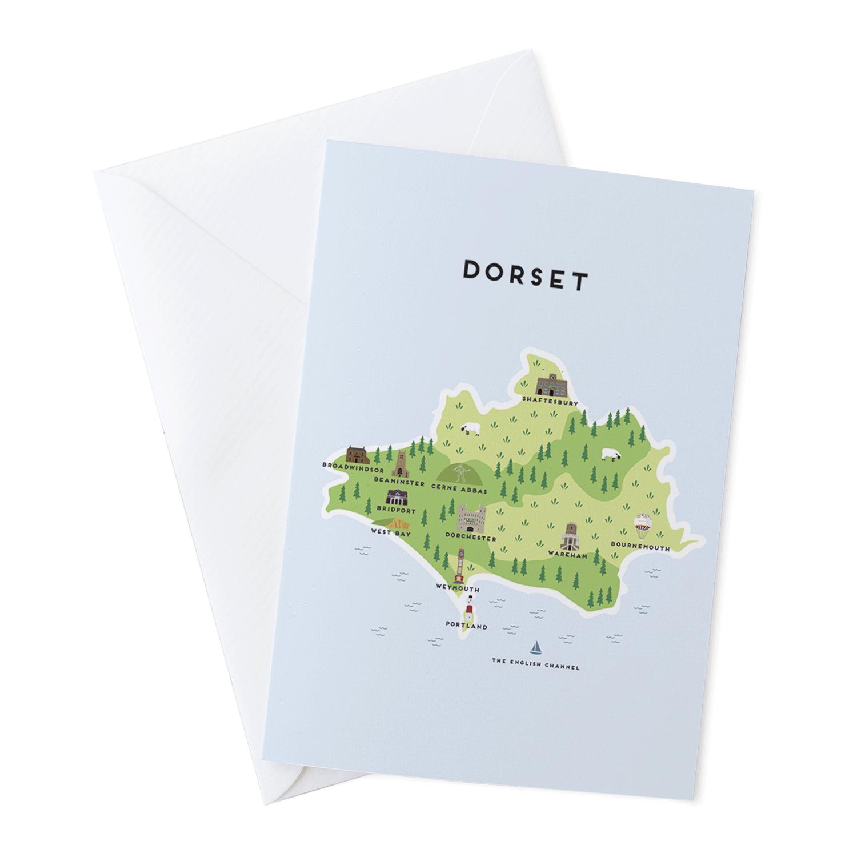 Place in Print Pepper Pot Studios Dorset Illustrated Map Greetings Card