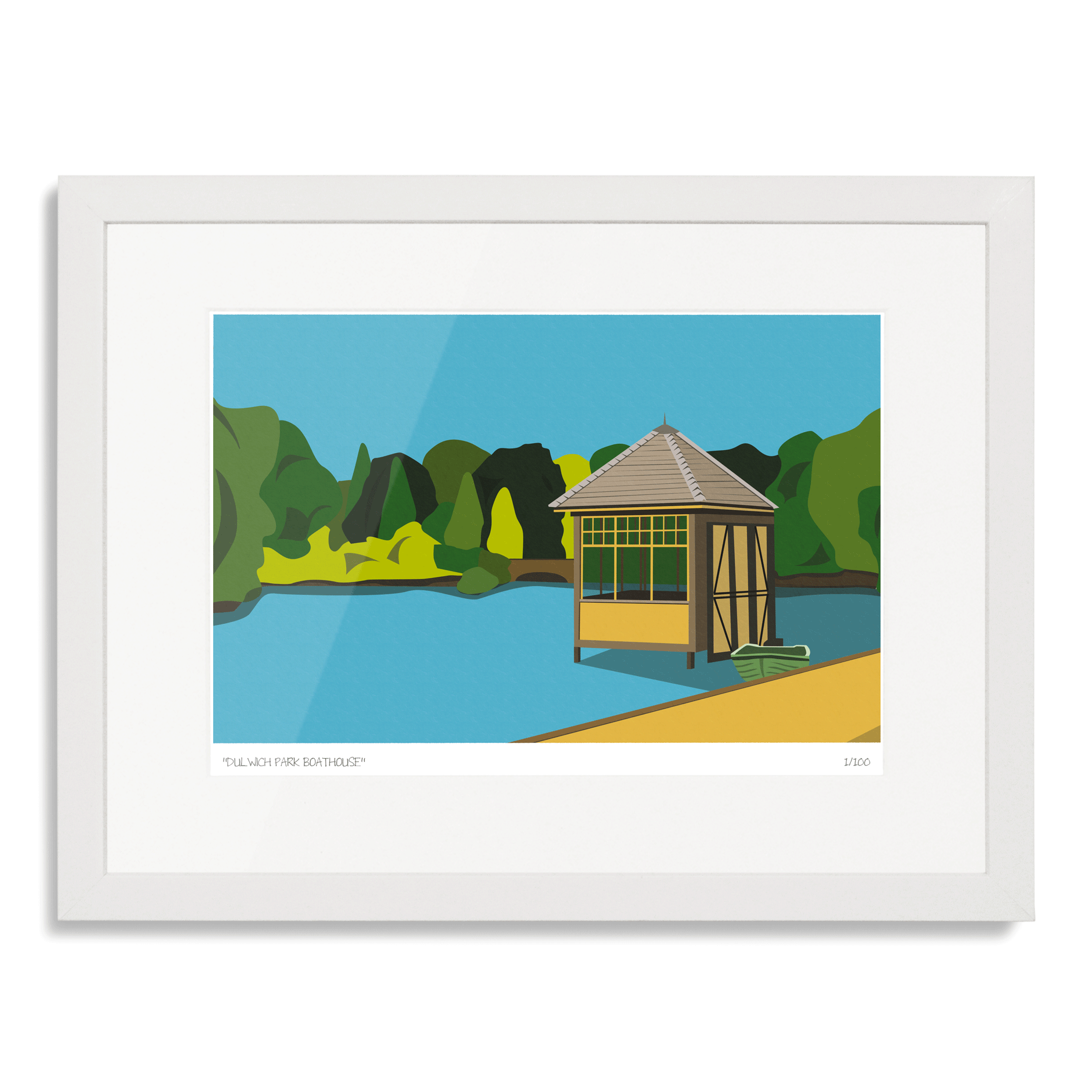 Dulwich Park Boathouse Art Poster Print