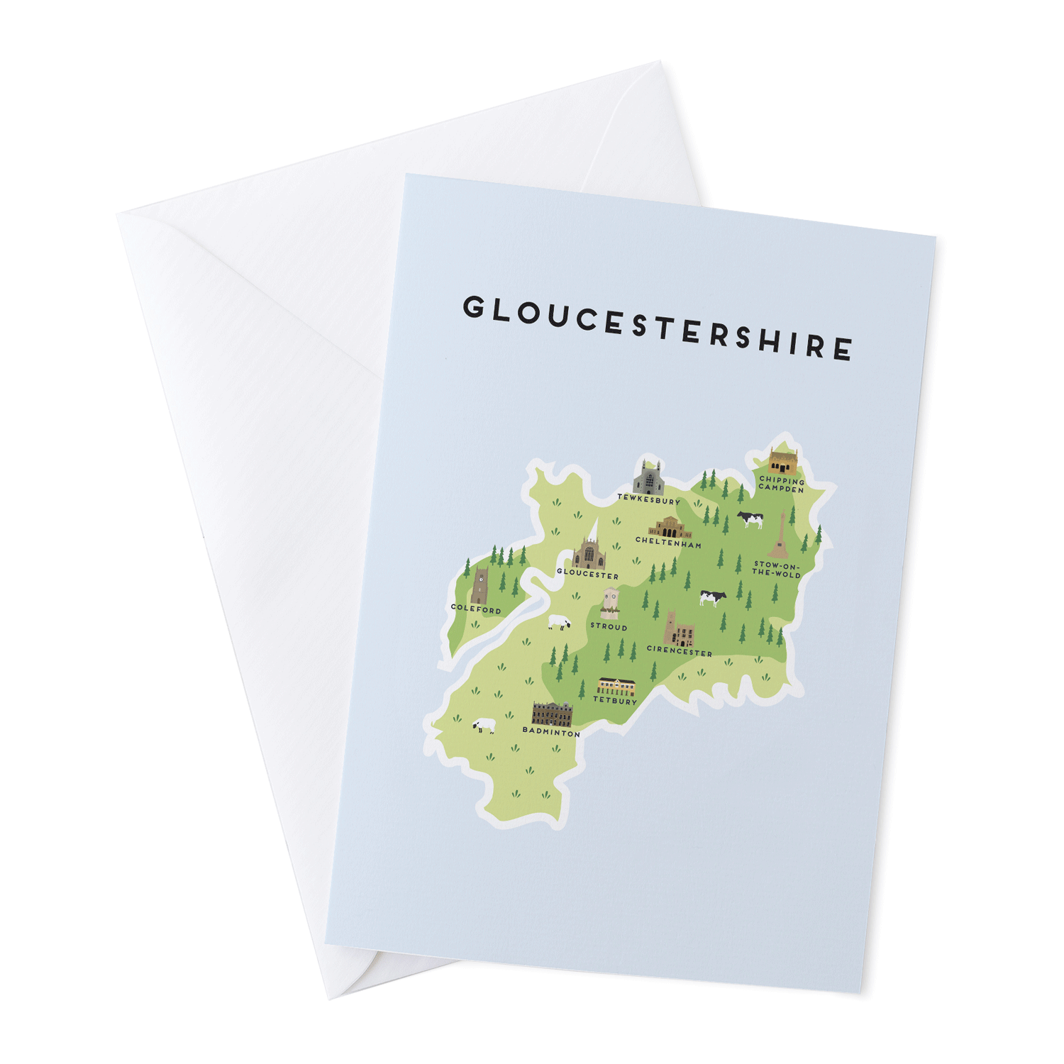 Place in Print Pepper Pot Studios Gloucestershire Illustrated Map Greetings Card
