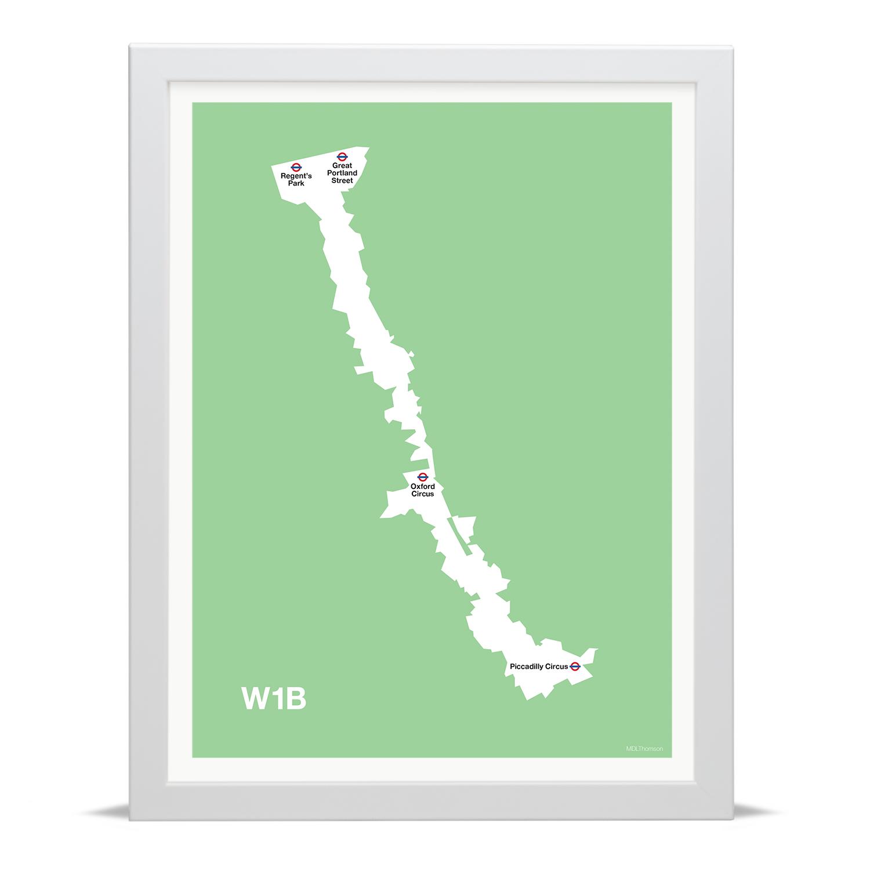 Place in Print MDLThomson W1B Postcode Map Art Print