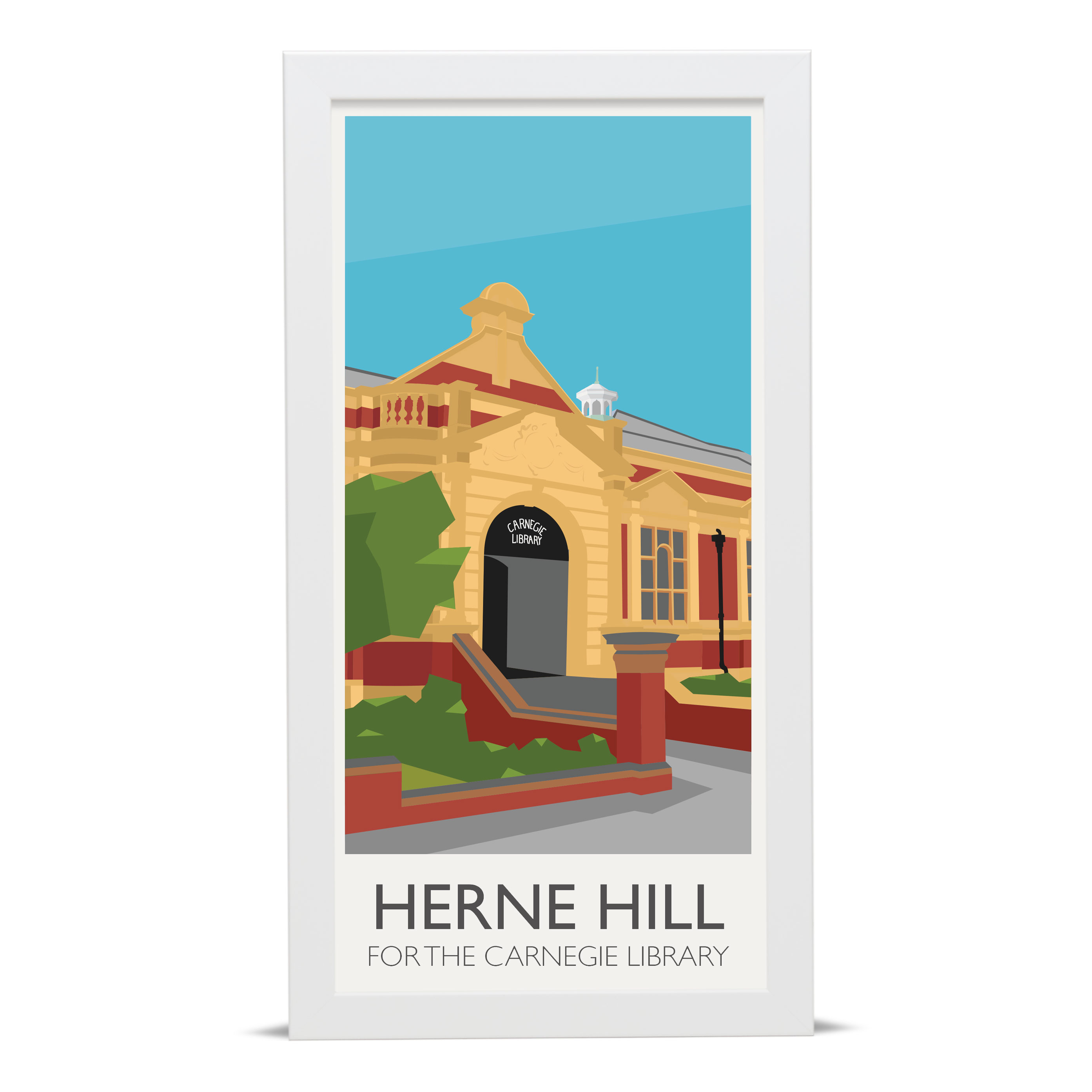 Place in Print Herne Hill Lamppost Banners Carnegie Library Art Poster Print