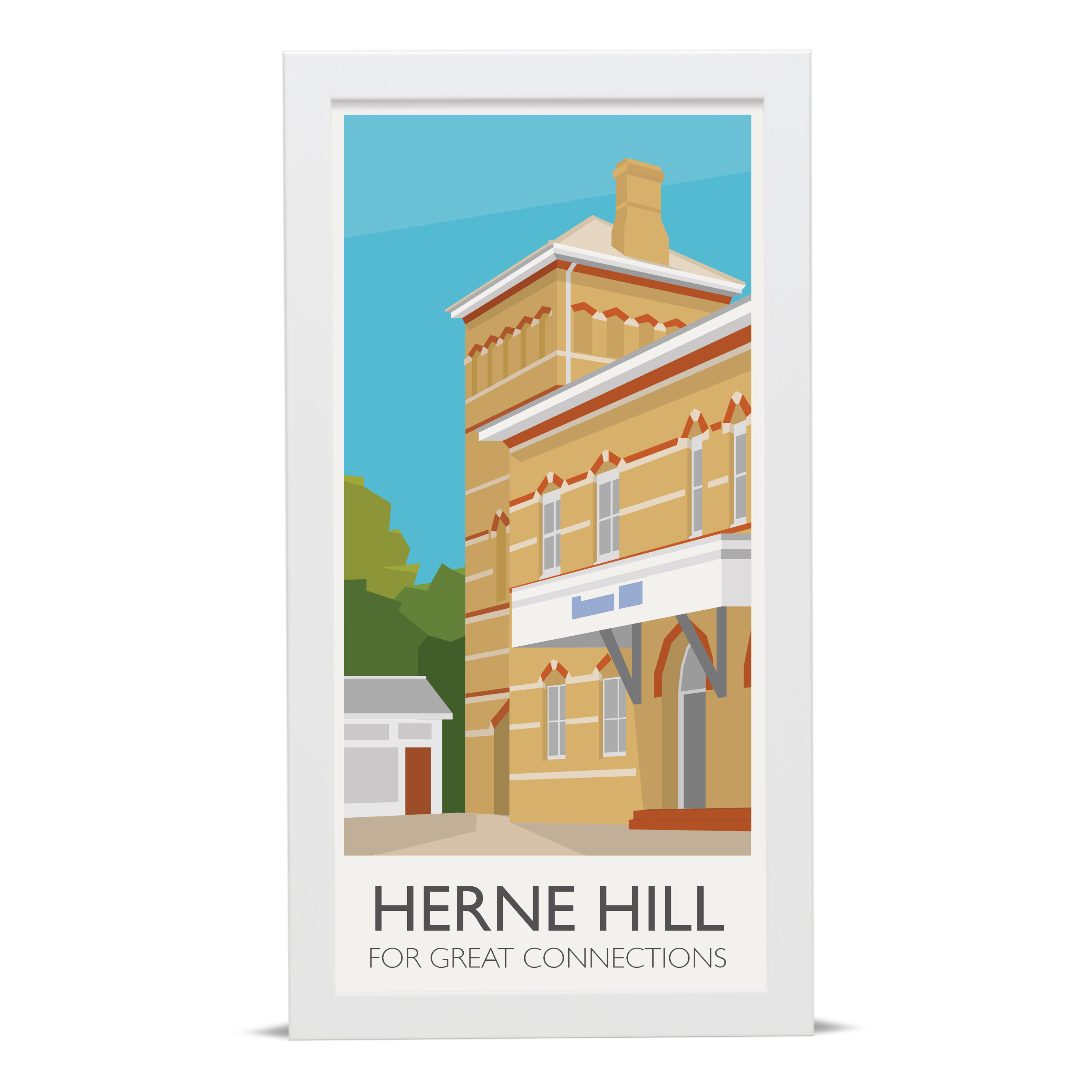 Place in Print Herne Hill Lamppost Banners Station Connections Art Poster Print