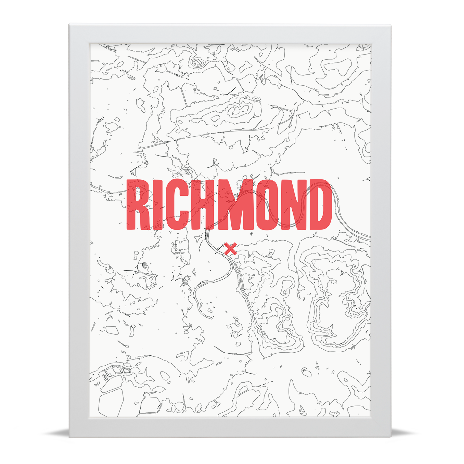 Place in Print Richmond Contour Map Art Print