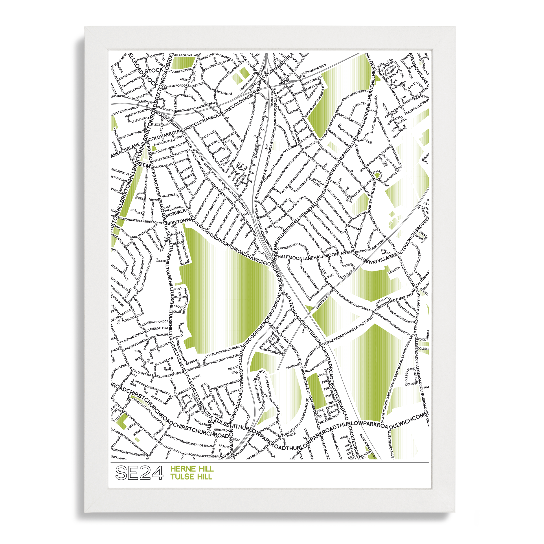 SE24 Herne Hill Typographic Map Art Poster Print