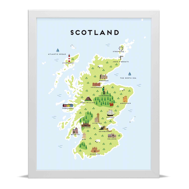 Place in Print Pepper Pot Studios Scotland Illustrated Map Art Print