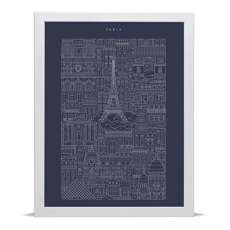 Place in Print The City Works Paris Blueprint Art Print