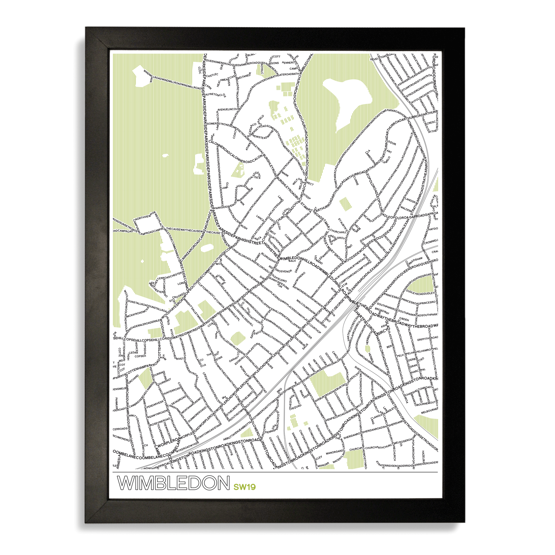 Place in Print Wimbledon SW19 Typographic Map Art Poster Print