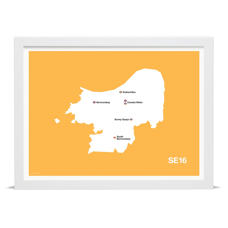 Place in Print MDLThomson SE16 Postcode Map Art Print