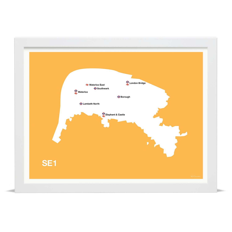 Place in Print MDLThomson SE1 Postcode Map Art Print