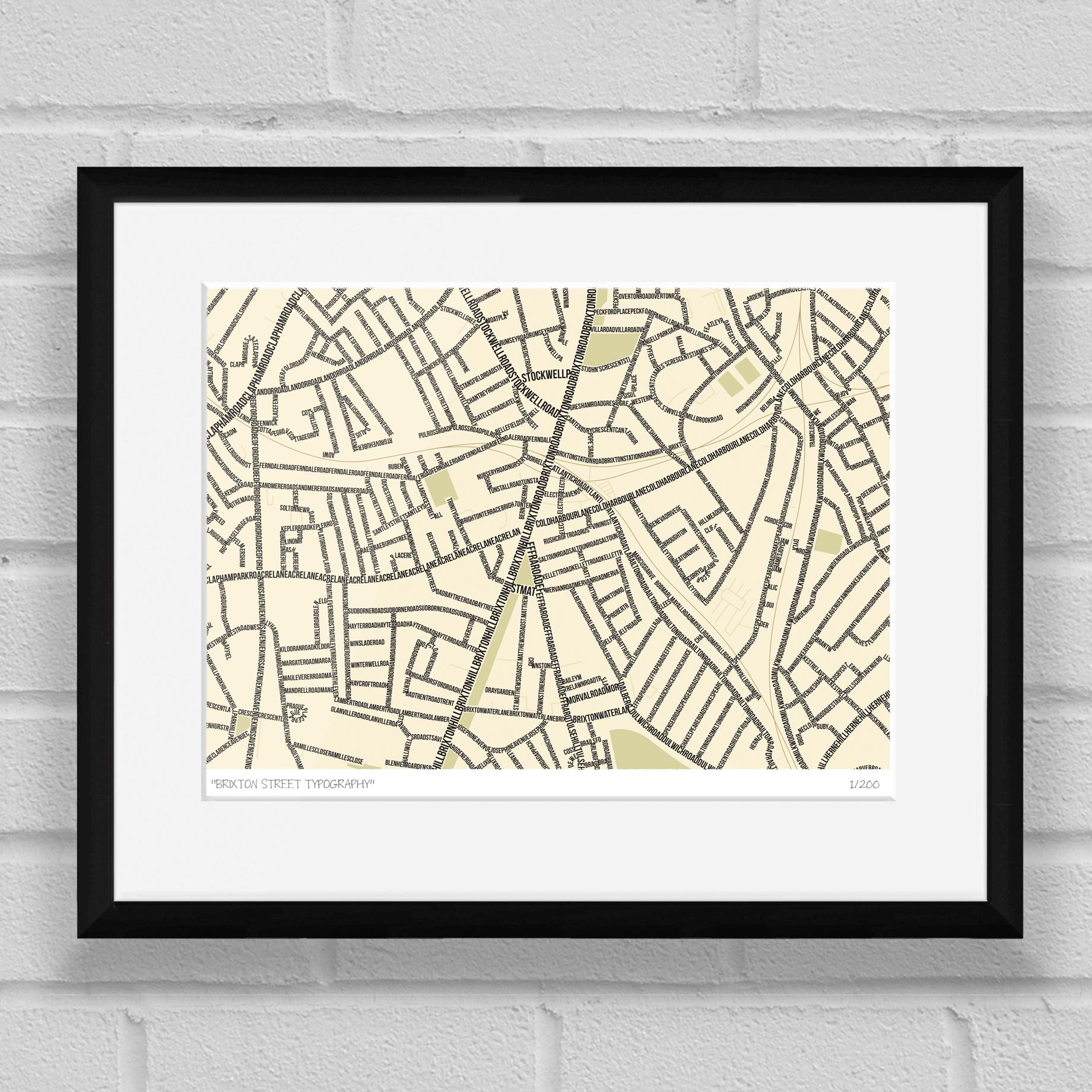 Brixton Street Typography Map Art Poster Print Black Frame