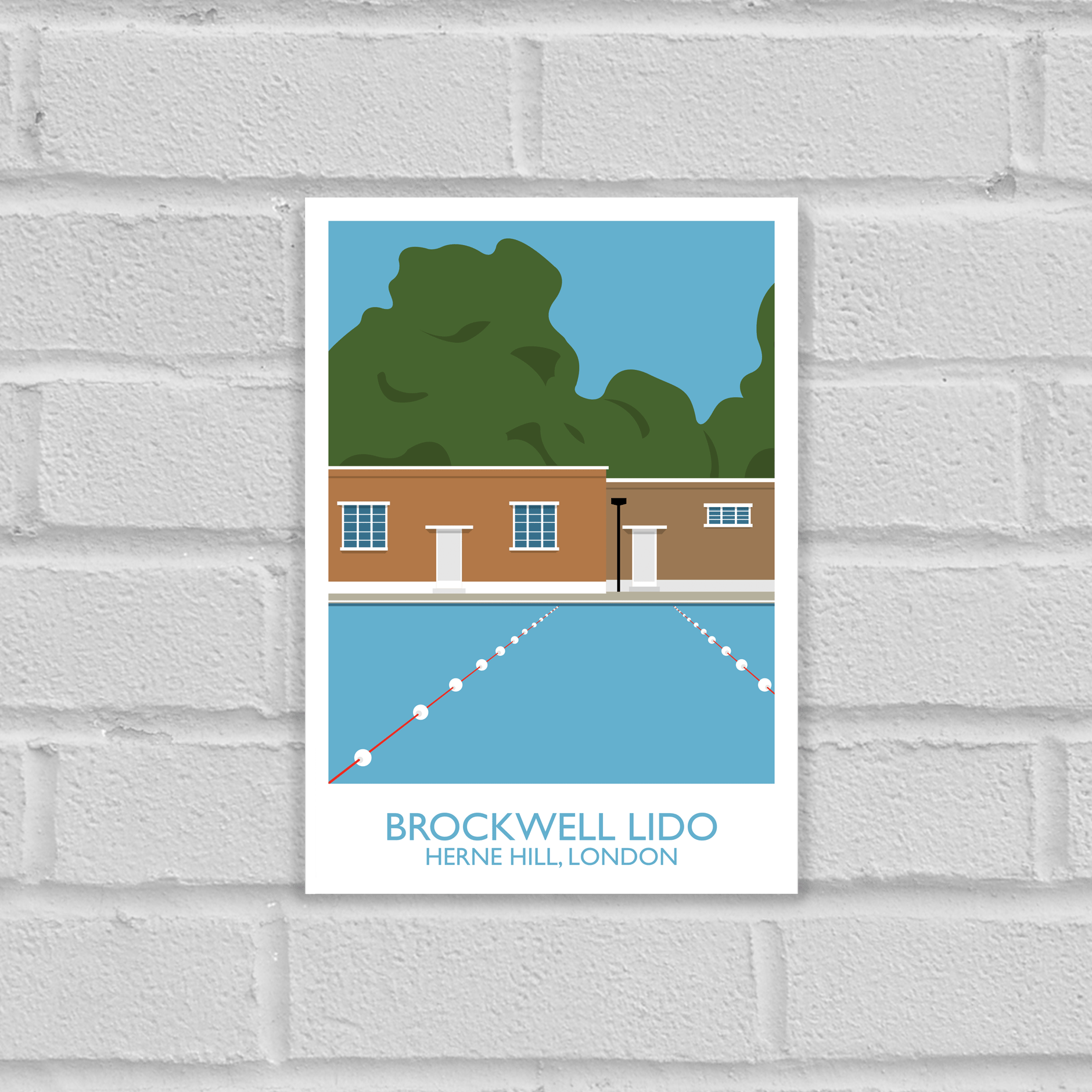 Brockwell Lido Landmark Art Poster Print Unframed