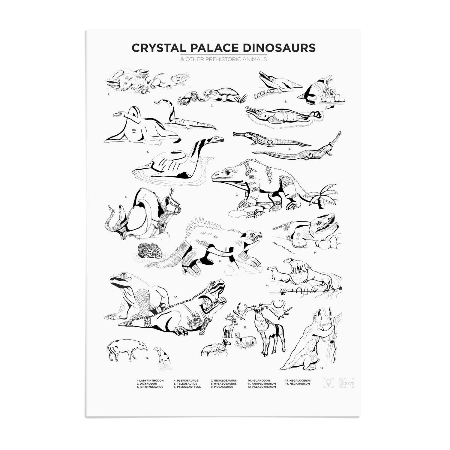 Place in Print Crystal Palace Dinosaurs Art Print Limited Edition Unframed