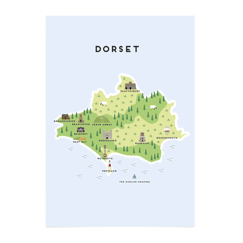Place in Print Pepper Pot Studios Dorset Illustrated Map Art Print Unframed