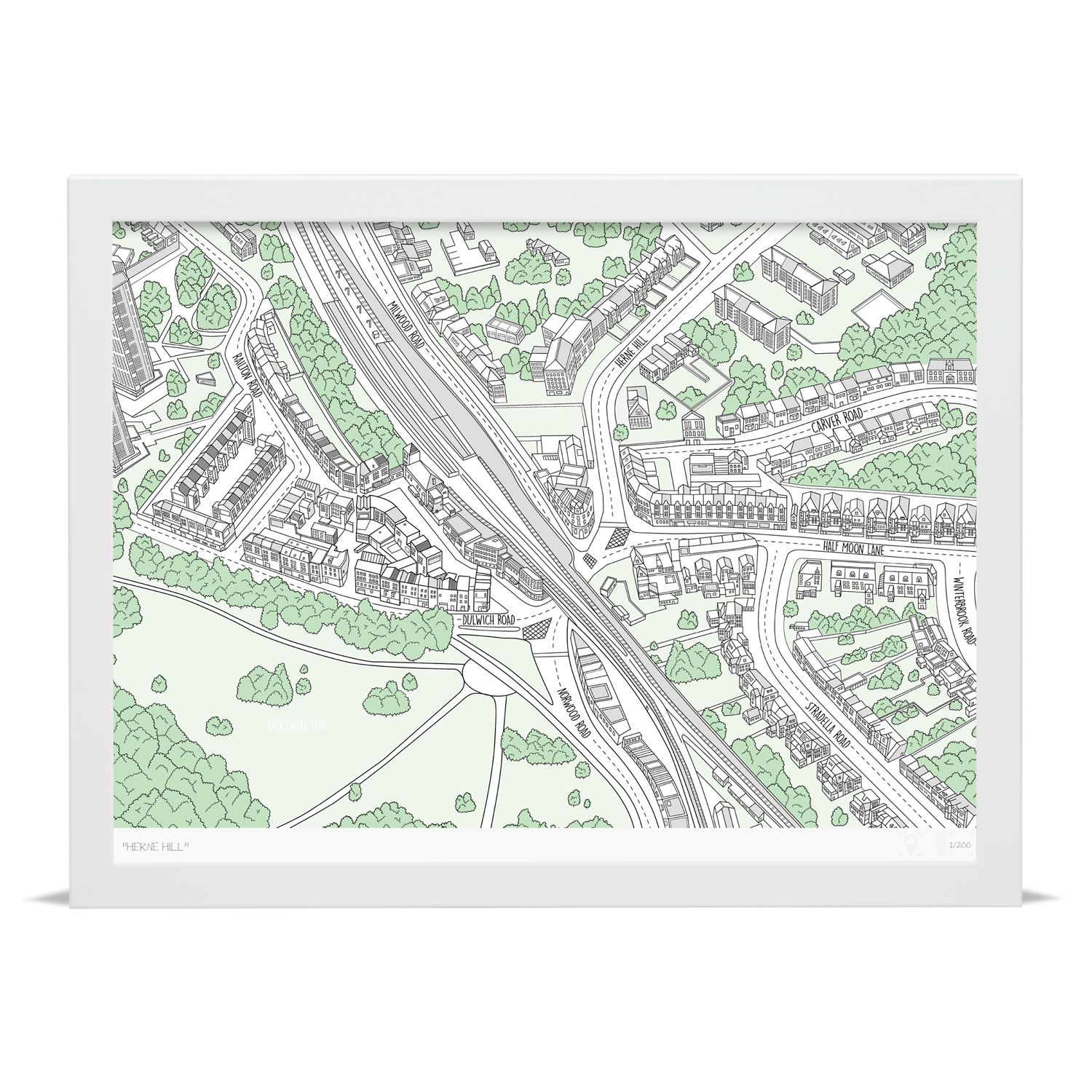 Herne Hill Illustrated Map Herne Hill Art Prints Place in Print