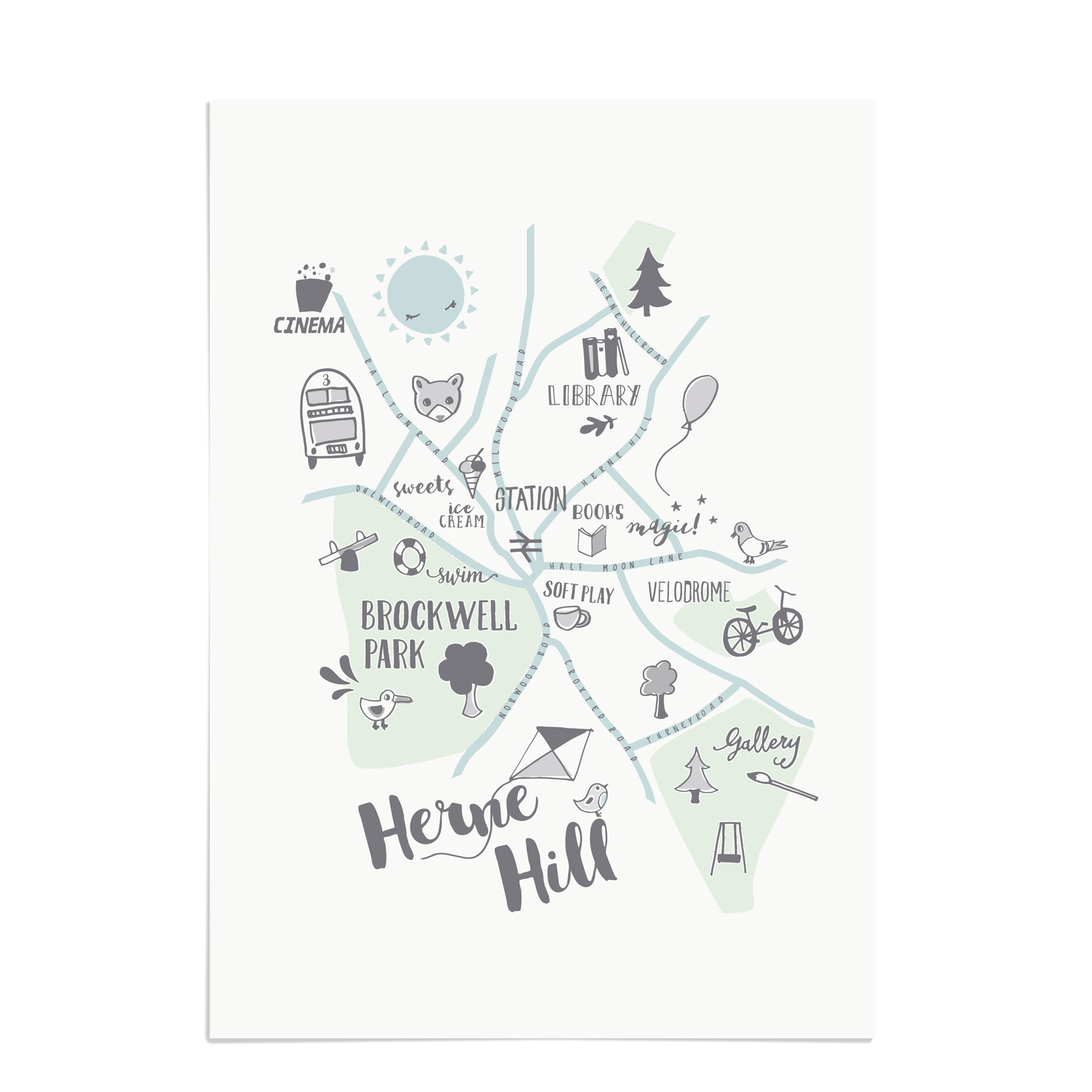 Herne Hill Kids Map Herne Hill Art Prints Place in Print