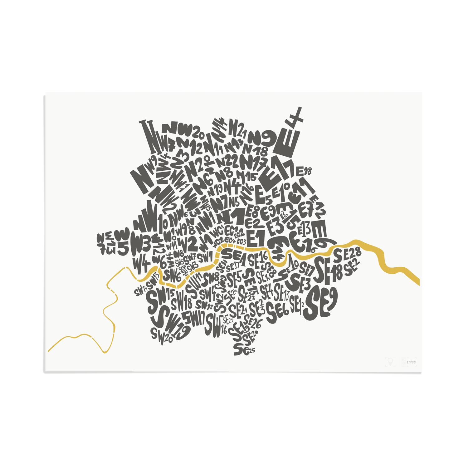 Place in Print London Postcodes Black Gold Art Poster Print Unframed