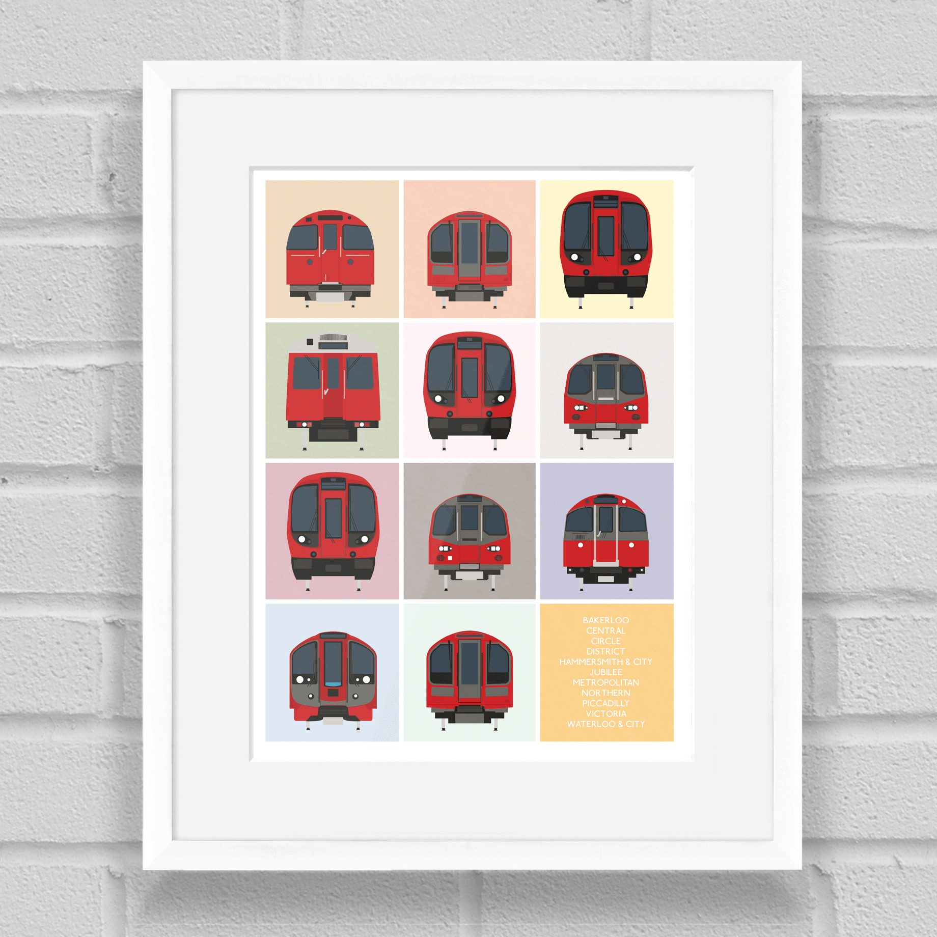 London Underground Tube Trains Art Print White Frame