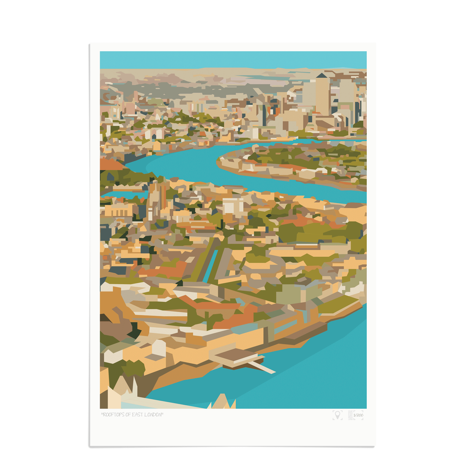Place in Print Rooftops of East London View Art Print A3 Unframed