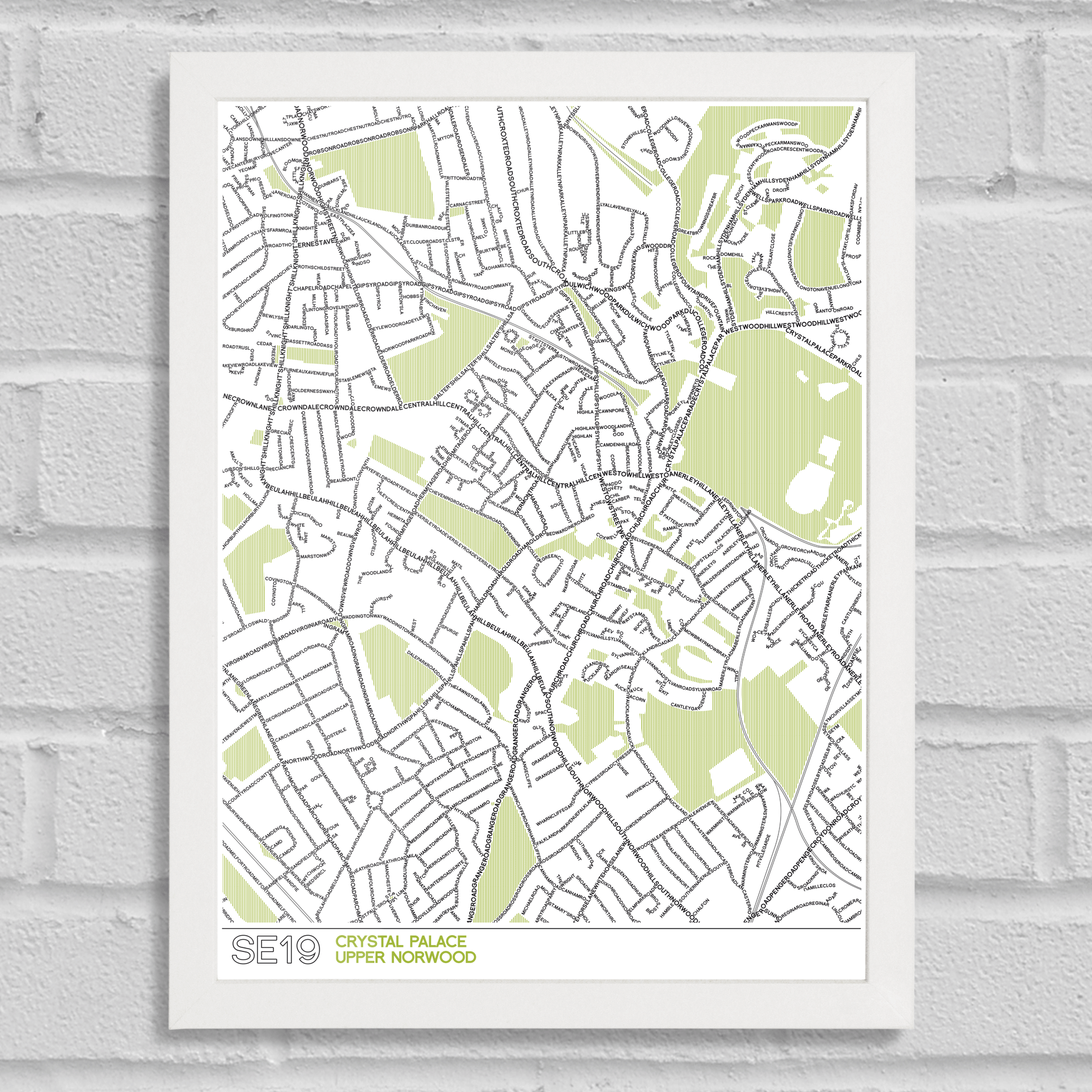 Se19 type map crystal palace art prints place in print place in print se19 typographic street map white frame jeuxipadfo Gallery