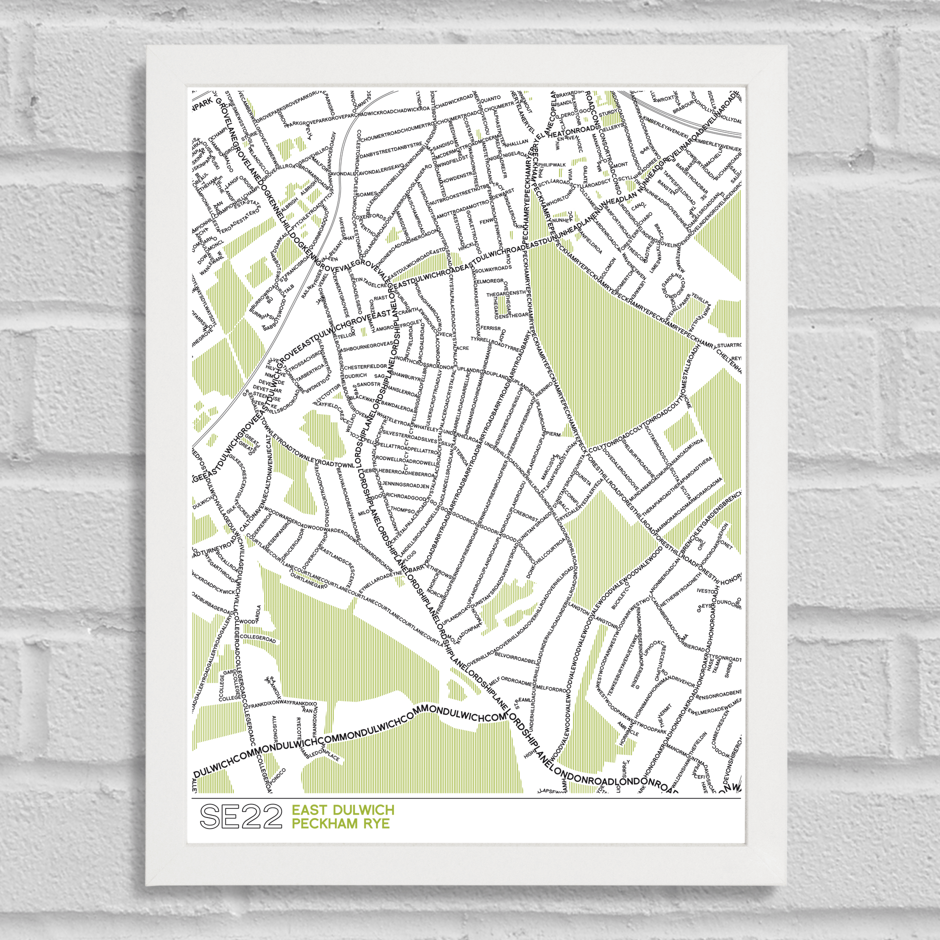 SE22 Dulwich Typographic Map Art Poster Print White Frame