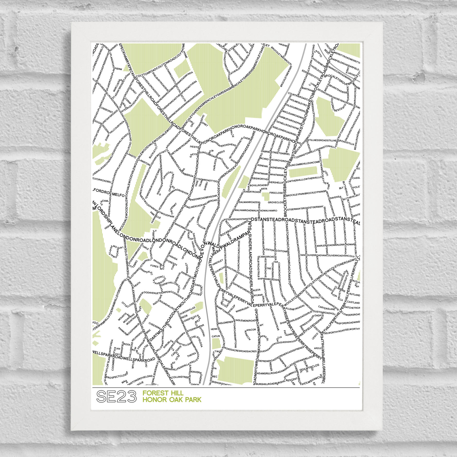 SE23 Type Map Forest Hill Art Prints Place in Print