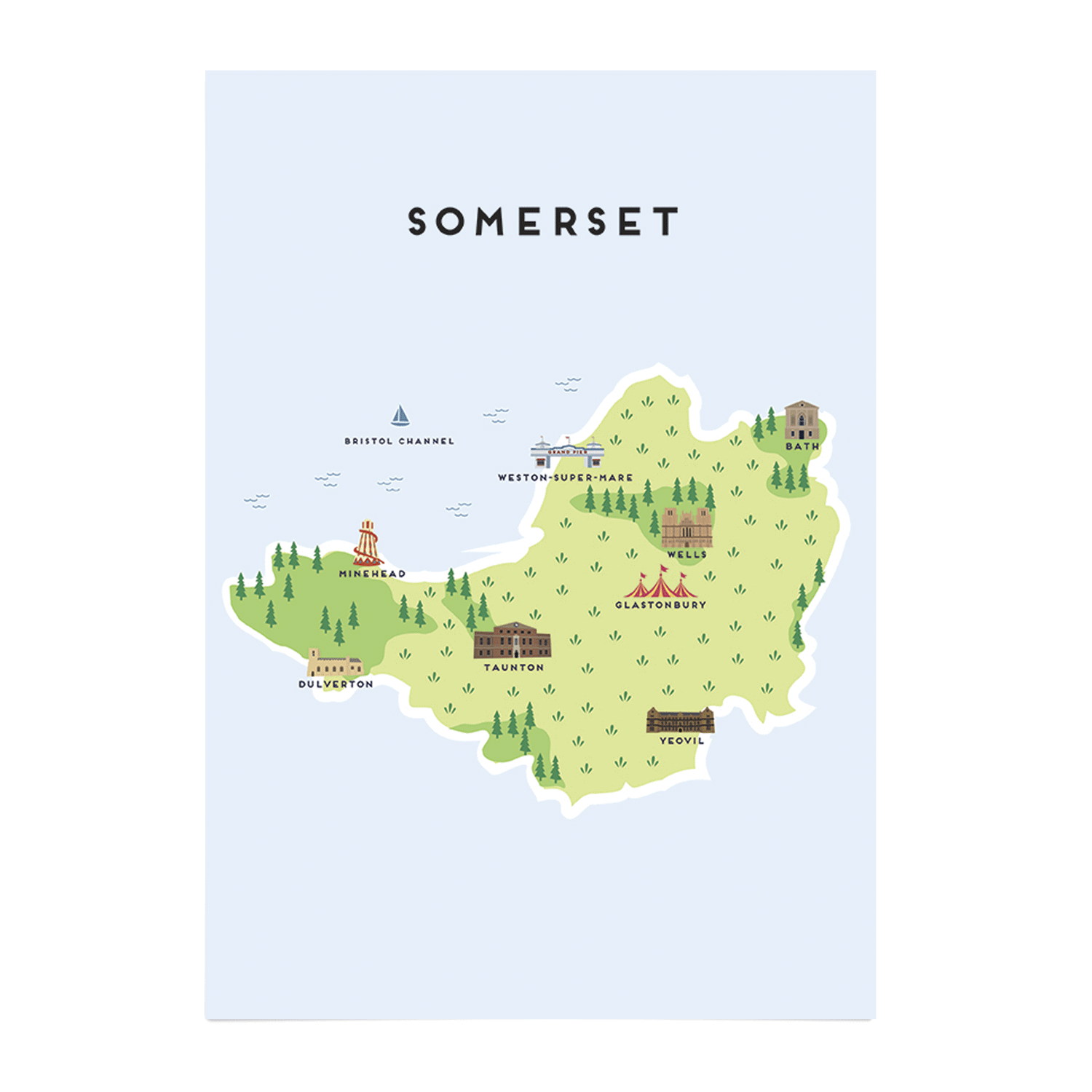 Somerset Illustrated Map Bath Art Prints Place in Print