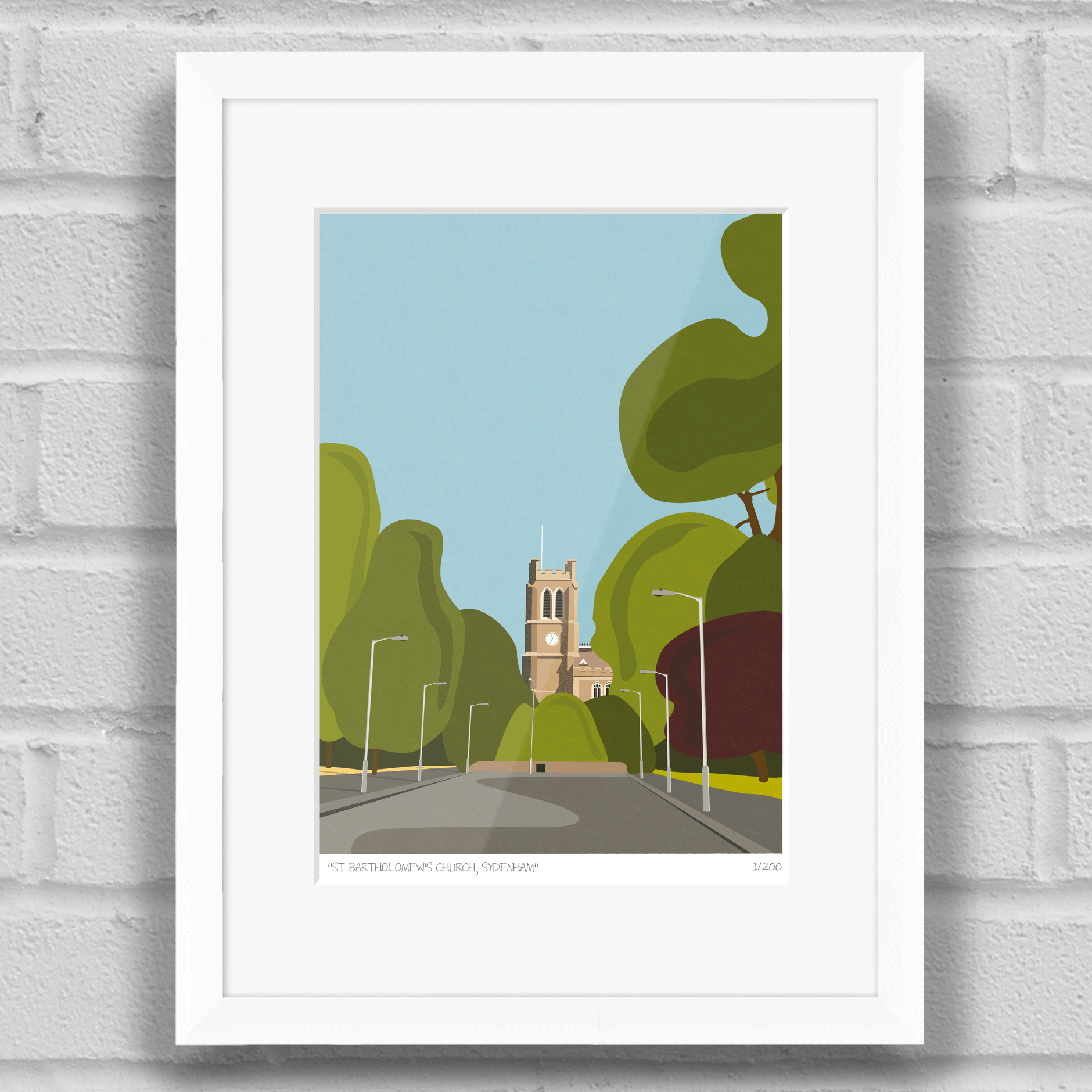 St bartholomews church sydenham crystal palace art prints st bartholomews church sydenham art poster print white frame jeuxipadfo Gallery