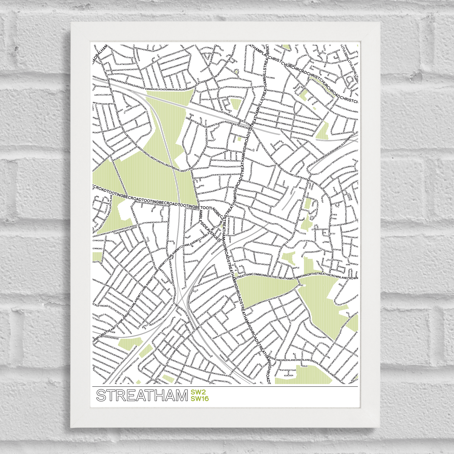 Place in Print Streatham Typographic Map Poster Print White Frame
