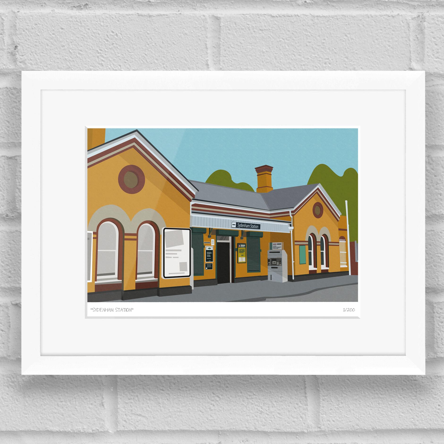 Sydenham Station Art Poster Print White Frame