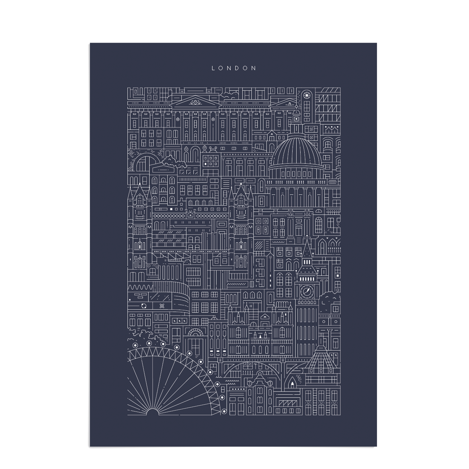 Place in Print The City Works London Blueprint Art Print Unframed