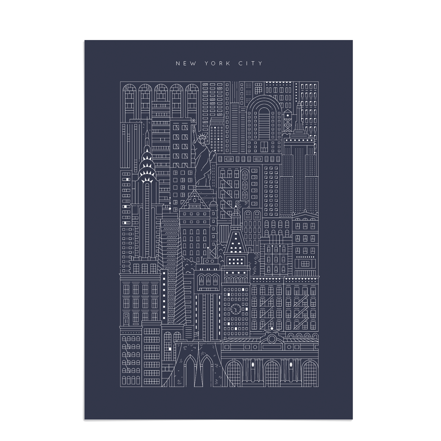 New york city blueprint manhattan art prints place in print place in print the city works new york city blueprint art print unframed malvernweather Image collections